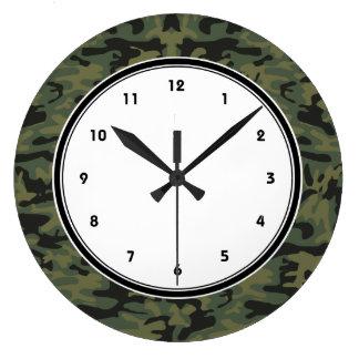 緑の迷彩柄パターン ラージ壁時計