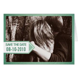 緑の郵便通知の保存日付の招待状 カード
