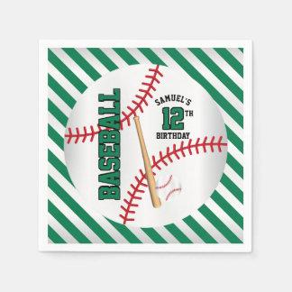 緑の野球の誕生日のデザイン は個人化なります スタンダードカクテルナプキン