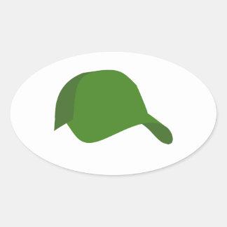 緑の野球帽 楕円形シール