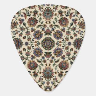 緑の野生の花のタペストリーの螺線形フレーム ギターピック