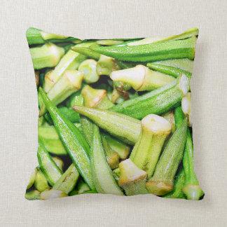 緑の野菜のオクラの枕 クッション