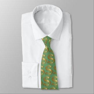 緑の金ドル記号のタイ ネックウェアー