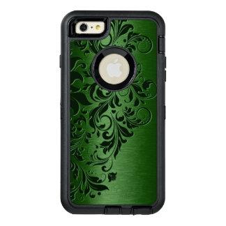 緑の金属背景及び深緑色の花のレース オッターボックスディフェンダーiPhoneケース
