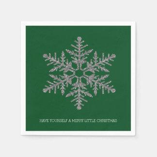 緑の銀製の雪片 スタンダードカクテルナプキン