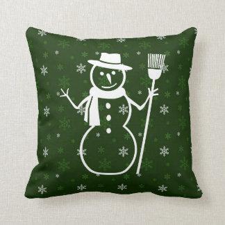 緑の雪だるまの装飾用クッション クッション