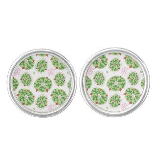 緑の雪片および赤いダイヤモンドのレトロのクリスマス カフボタン