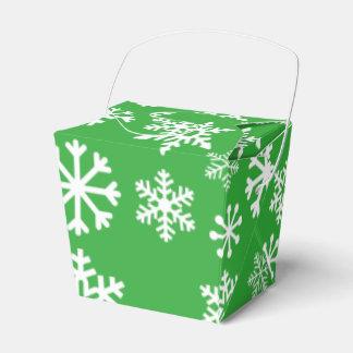 緑の雪片のクリスマスのクッキー箱 フェイバーボックス