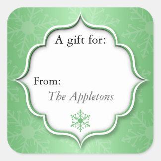 緑の雪片のクリスマスのプレゼントのラベルのステッカー スクエアシール