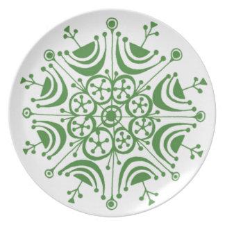 緑の雪片のメラミンプレート プレート
