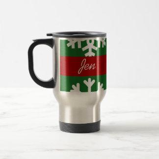 緑の雪片旅行コーヒー・マグをカスタマイズ トラベルマグ