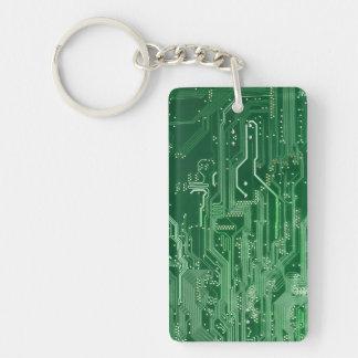 緑の電子回路のボード・コンピュータパターン キーホルダー