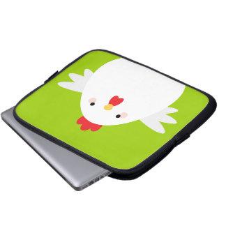 緑の電子工学の袖の白い鶏 ラップトップスリーブ