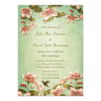 緑の霧の結婚式のピンクのツツジのヴィンテージ カード