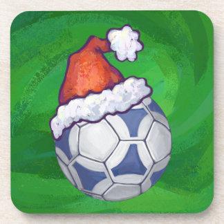 緑の青および白いお祝いのサッカーボール コースター