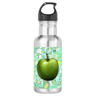 緑の青リンゴ色の背景 ウォーターボトル