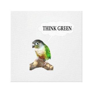"""緑の頬のConureの""""環境を考える。"""" キャンバスプリント"""