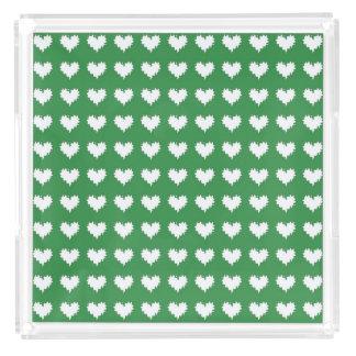緑の香水の皿の巻き毛のハートの白 トレー