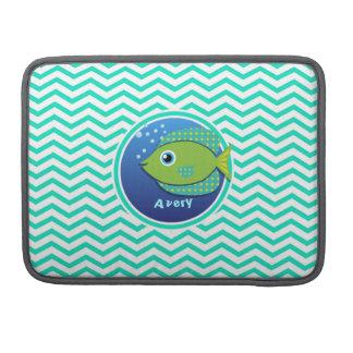 緑の魚; 水緑のシェブロン MacBook PROスリーブ