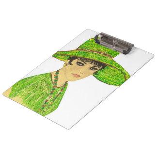 緑の鮮やかな女性 クリップボード
