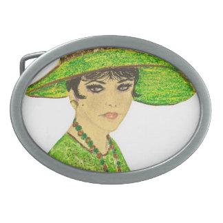 緑の鮮やかな女性 卵形バックル