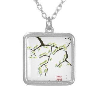 緑の鳥、贅沢なfernandesを持つ桜 シルバープレートネックレス