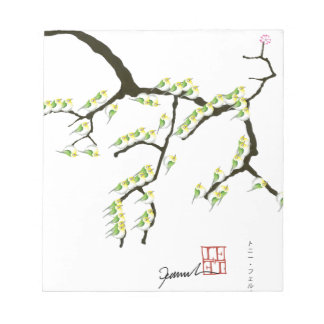 緑の鳥、贅沢なfernandesを持つ桜 ノートパッド