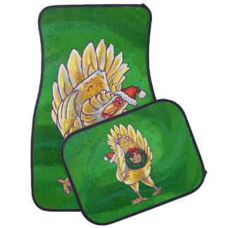 緑の鶏のクリスマス カーマット