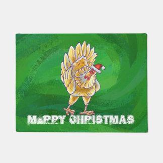 緑の鶏のクリスマス ドアマット