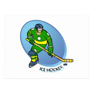 緑の黄色いアイスホッケー ポストカード