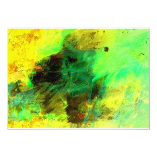 緑の黄色いオリジナルの抽象芸術の招待状 12.7 X 17.8 インビテーションカード