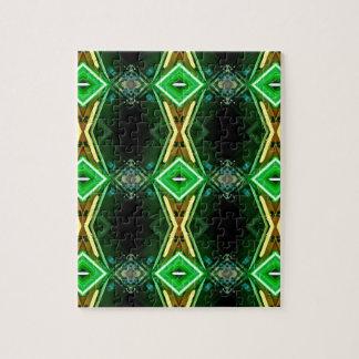 緑の黄色いネオン粋な種族パターン ジグソーパズル