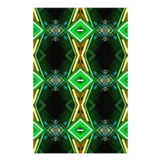 緑の黄色いネオン粋な種族パターン 便箋
