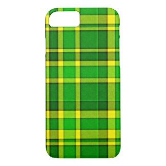 緑の黄色い格子縞のタータンチェック iPhone 8/7ケース