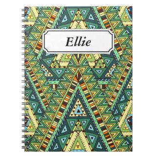 緑の黄色いbohoの民族パターン ノートブック