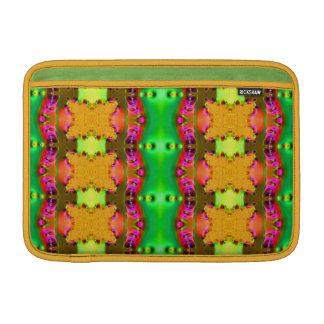 緑の黄色く多彩なリボン MacBook スリーブ