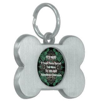 緑の黒いシマウマ ペットネームタグ