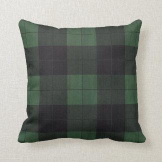緑の黒い格子縞の冬の国の素朴な枕 クッション