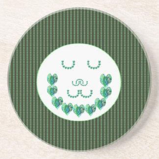 緑の黙想の女性: ハート形の芸術 コースター