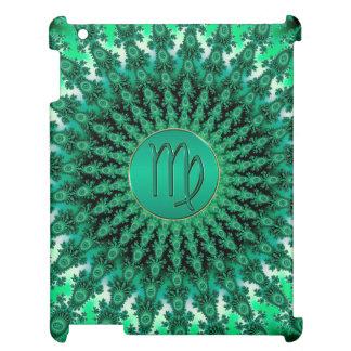 緑の(占星術の)十二宮図の印の《星座》乙女座のフラクタルの曼荼羅 iPad カバー