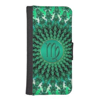 緑の(占星術の)十二宮図の印の《星座》乙女座のフラクタルの曼荼羅 iPhoneSE/5/5sウォレットケース