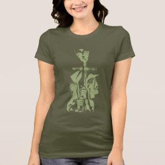 """緑の""""救助""""の押されたワイシャツ Tシャツ"""