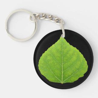 緑の《植物》アスペンの葉#11 キーホルダー