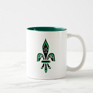 緑の(紋章の)フラ・ダ・リの三色 ツートーンマグカップ
