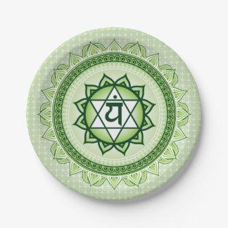 緑のAnahataの第4チャクラの緑書のプレート ペーパープレート
