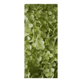 緑のAnnabelleのアジサイの花の結婚式プログラム ラックカード