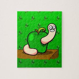 緑のAppleの幸せなみみず ジグソーパズル
