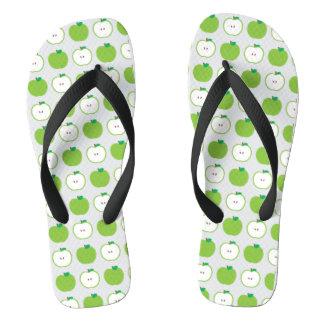 緑のAppleパターンビーチサンダル ビーチサンダル