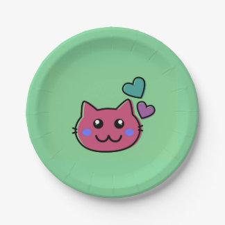 緑のbackroundの幸せなピンク猫のemoji ペーパープレート