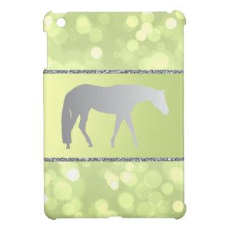 緑のBrokehの銀製の西部の喜びの馬 iPad Mini カバー